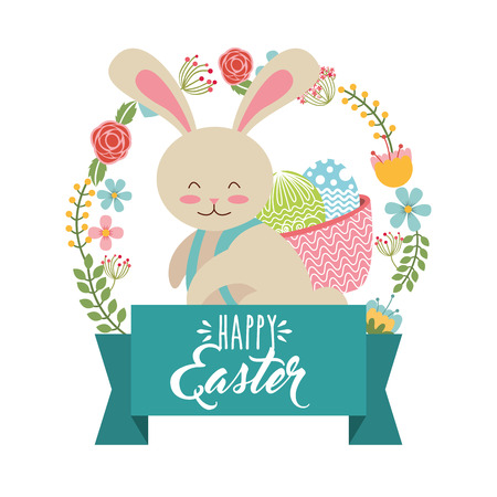 cute bunny carrying basket eggs wreath floral happy easter vector illustration
