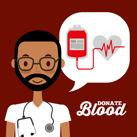 doctor speech bubble and bag blood heart rate donation campaign vector illustration Çizim