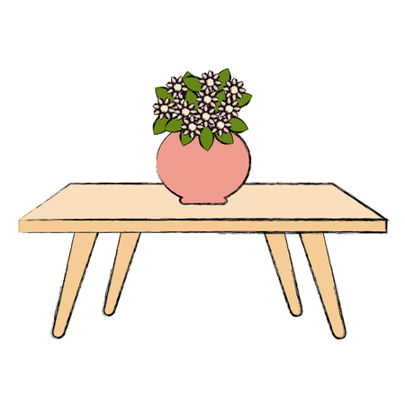 Living Room Table With Cute Vase And Flowers Decorative Vector