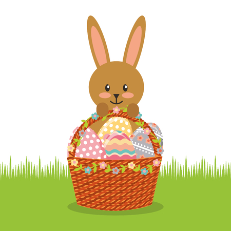 cute rabbit with basket full easter eggs field decoration vector illustration