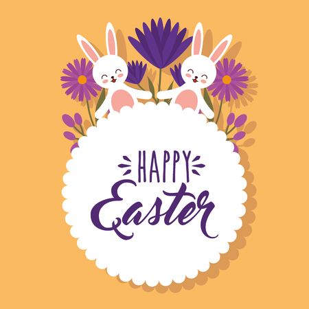 cute white rabbits holding hand flowers happy easter label vector illustration Stock Vector - 95603698