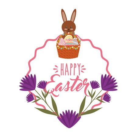 Cute bunny basket eggs purple flowers and frame decoration vector illustration 일러스트