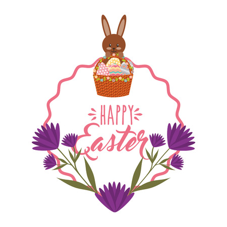 Cute bunny basket eggs purple flowers and frame decoration vector illustration Illustration
