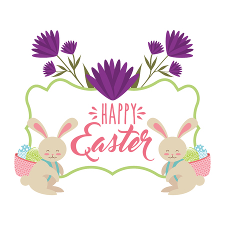 rabbits with basket in back with eggs happy easter card vector illustration Illustration