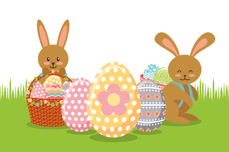 Brown rabbits with baskets and eggs decoration on meadow vector illustration
