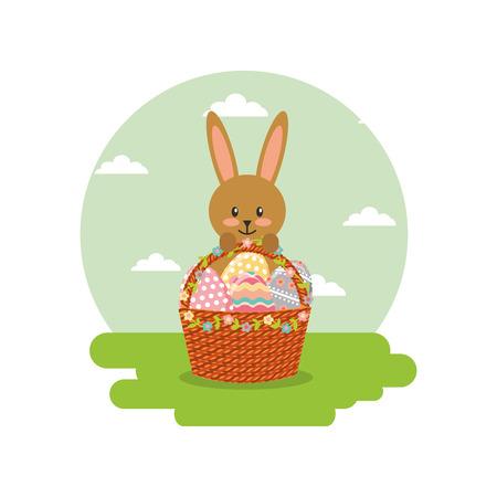 rabbit holds basket floral eggs decoration in landscape field vector illustration