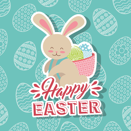 White rabbit with basket in back happy easter eggs background vector illustration