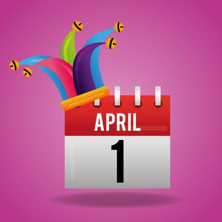 April 1 and jester hat celebration vector illustration