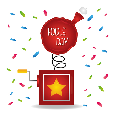 Prank box whoopee cushion confetti fools day card celebration vector illustration