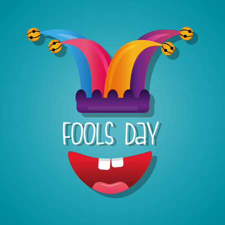 Happy mouth jester hat fools day card celebration blue background vector illustration