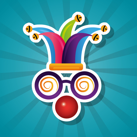 funny silly glasses red nose and hat jester vector illustration Stock Illustratie