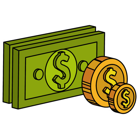 Bills and coins dollar money icon vector illustration design. Illustration