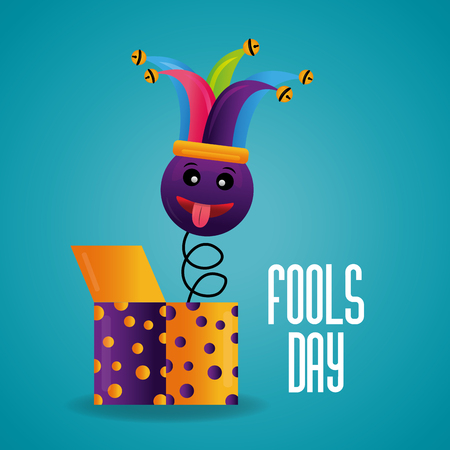Funny emoticon tongue out jester hat in box fools day card celebration vector illustration