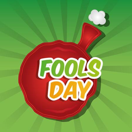 Whoopee cushion cheerful fools day card celebration vector illustration