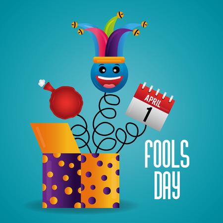 jack in the box smile emoticon cushion and calendar fools day card celebration vector illustration Çizim