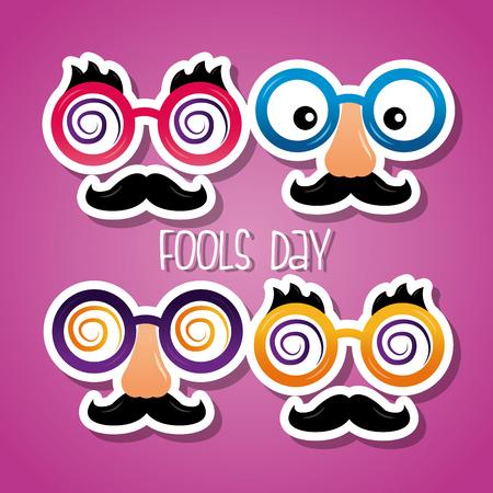 collection funny masks for celebration fools day card celebration vector illustration