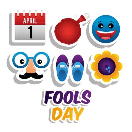 April fools day icons set