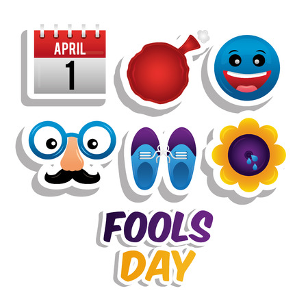 April fools day icons set