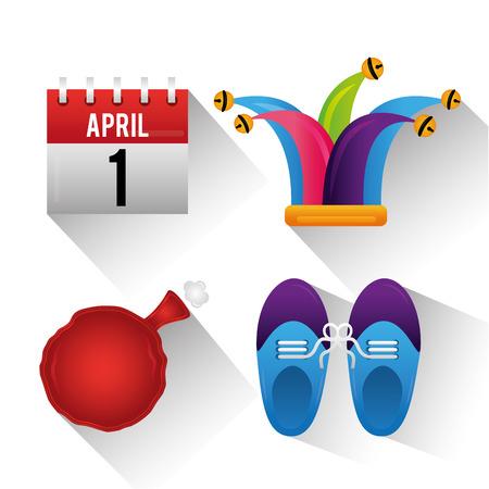 April fools day celebration hat cushion shoes and calendar vector illustration Çizim