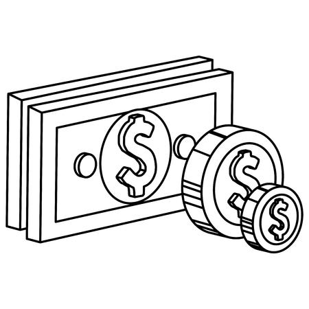 bills and coins dollar money icon vector illustration design