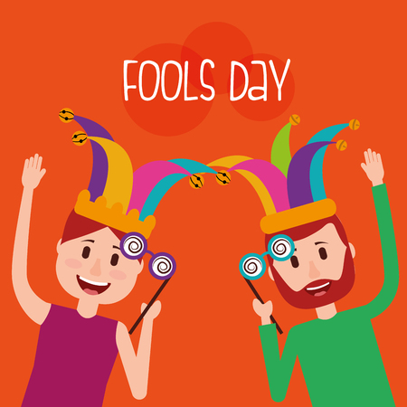 People wearing jester hats and crazy glasses vector illustration Illustration