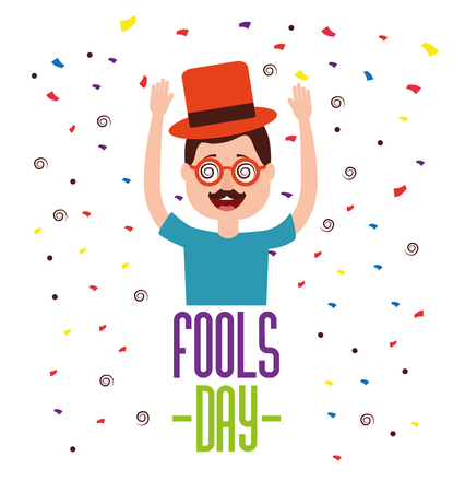 funny man glasses mustache hat confetti celebration fools day  vector illustration 向量圖像