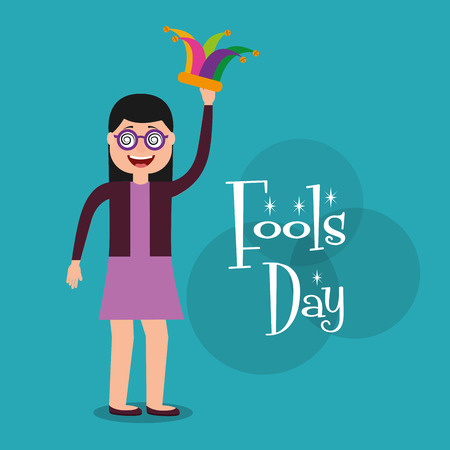 Happy woman silly glasses holds jester hat celebration fools day vector illustration