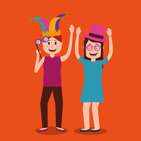 Young couple dance celebration fools day vector illustration
