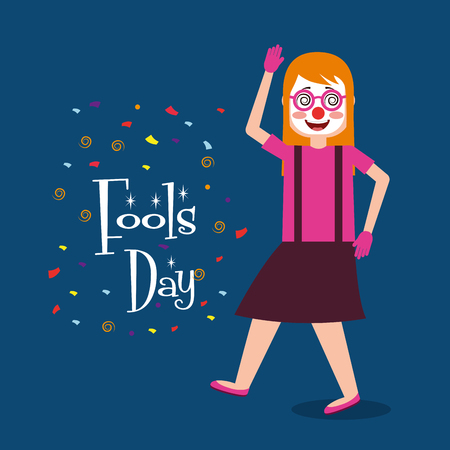 Woman smile clown mask glasses vector illustration 向量圖像