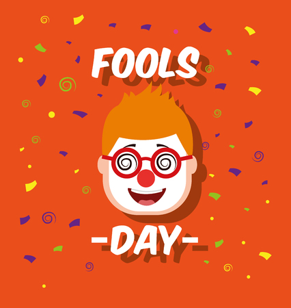 Man face with funny clown mask glasses vector illustration