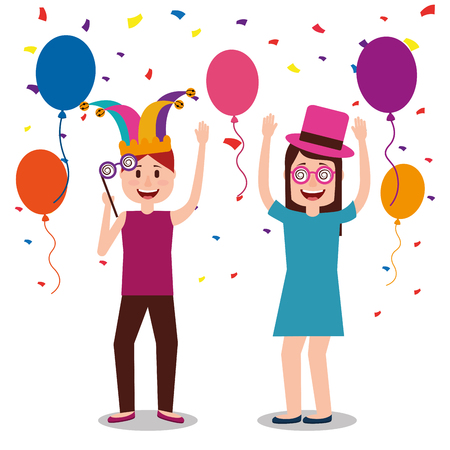 Young man and woman celebration balloons and confetti fool day vector illustration