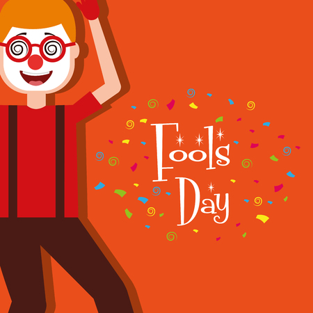 Cartoon man wearing clown mask glasses fools day vector illustration