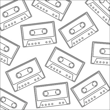 Retro cassette sticker pattern background vector illustration design.
