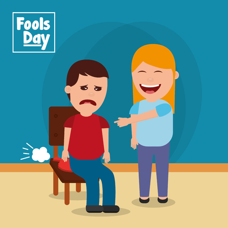 Woman pranks a man with the cushion vector illustration