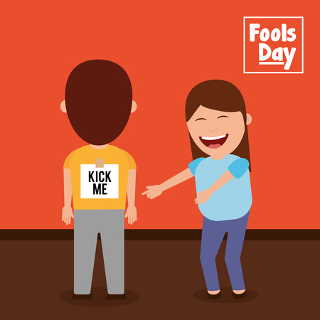 Woman laughing at a man with kick me sticker on his back vector illustration Illustration