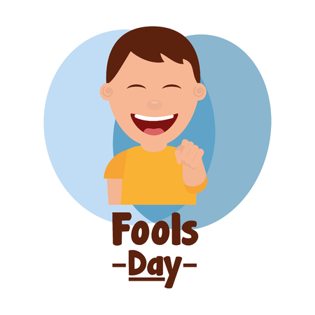happy man smiling point finger fools day vector illustration Illustration