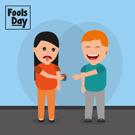 Man smiling a woman prank drinking fools day vector illustration Stock Illustratie