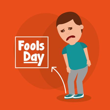 Sad man for joke of tied shoelaces vector illustration Vettoriali