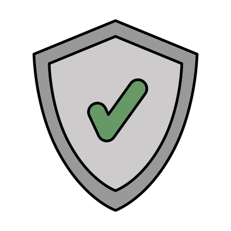 Shield with chek symbol vector in colored illustration design.