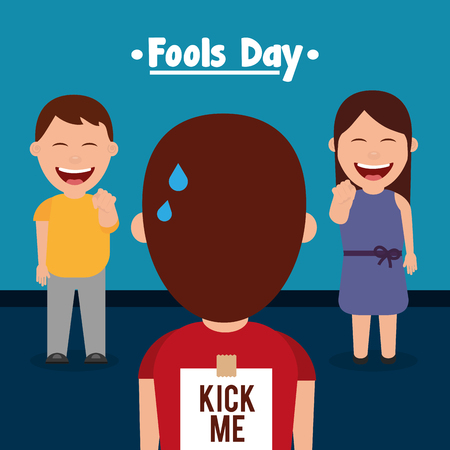 Man and woman prank a friend kick me sticker in back fools day vector illustration Vectores