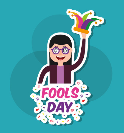 Happy young woman with glasses and jester hat vector illustration