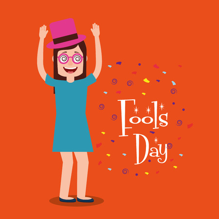 Funny woman with hat and glasses arms up fools day celebration vector illustration