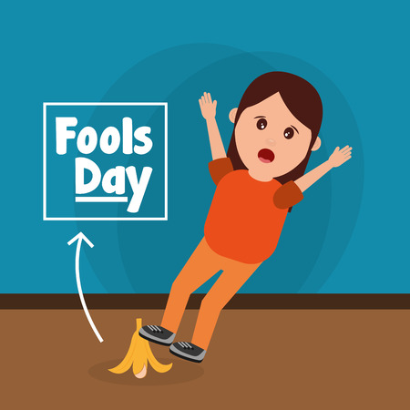 Woman slips with banana peel fools day prank vector illustration