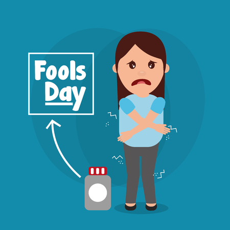 Fools day woman joke humor creativity vector illustration