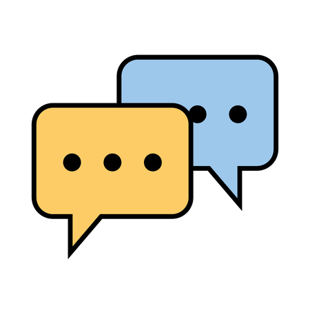 Speech bubbles isolated icon vector in colored illustration design.