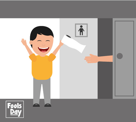Man jokes to the friend removing toilet paper from the bathroom fools day vector illustration