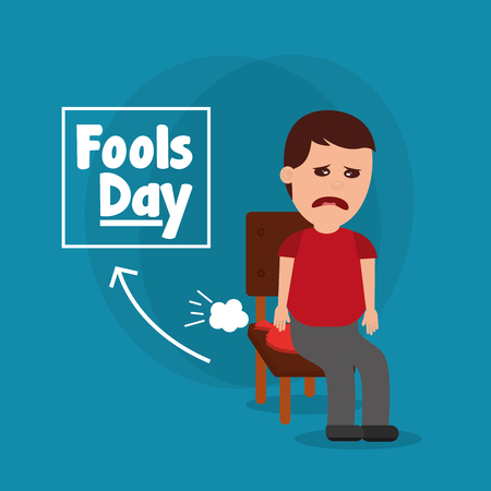 Sad man sitting in chair with whoopee cushion fools day vector illustration Иллюстрация