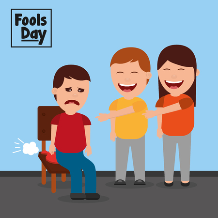 Man and woman make joke a friend with cushion fools day vector illustration Stock Illustratie