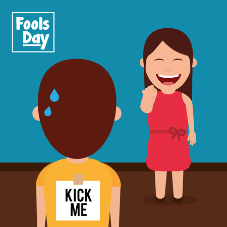 Laughing woman prank a man kick me paper in back fools day vector illustration Иллюстрация