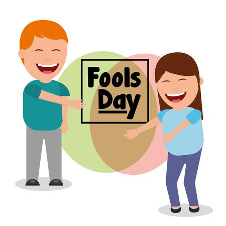 Heureux homme et femme souriant fools day vector illustration Banque d'images - 95660821